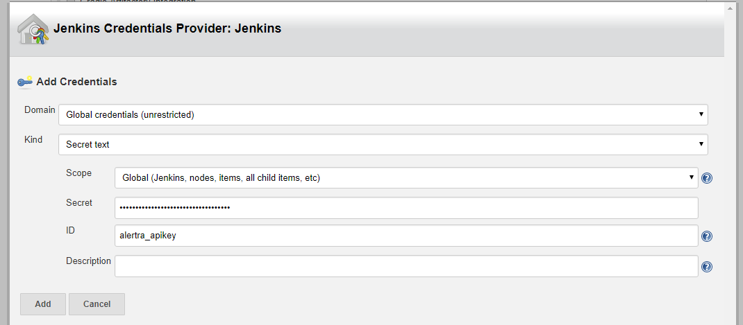Image Showing Jenkins Credentials Provider - Add Credentials for Alertra